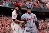 San Francisco, CA - Oct. 24:   Giants v Detroit Tigers - Miguel Cabrera  and Buster Posey Photographic Print by Doug Pensinger