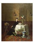 Dame Beim Tee Giclee Print by David Emil Joseph de Noter