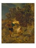 Pan Erschreckt Einen Hirten, 1860() Posters by Arnold Bocklin