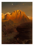 Evening Sun Creating a Glow in the Sierra Nevada, 1863 Giclee Print by Fritz Bamberger