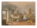 Peasants Playing Cards, 1860 Giclee Print by Lorenzo Il Quaglio