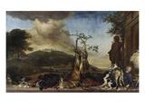 Jagdstilleben Vor Einer Landschaft Mit Schloss Bensberg, 1712 Giclee Print by Jan Weenix