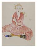 Sitzendes Maedchen, 1911 Art by Egon Schiele
