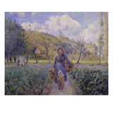 In the Vegetable Garden, 1881 Giclee Print by Camille Pissarro