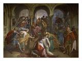 Kriemhilds Tod, 1849. Fresko Im Saal Der Rache (Nibelungen-Saele) Der Residenz in Muenchen Giclee Print by Julius Schnorr von Carolsfeld