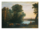 Claude Lorrain - Idyllic Landscape During Sunset, 1670 - Giclee Baskı