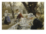 Beer Garden, about 1895 Giclee Print by Arthur Langhammer