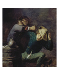 Two Brawling Farmers at a Barrel Giclee Print by Adriaen Brouwer