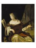 Woman Tuning Her Lute, 1678 Giclee Print by Eglon Hendrick Van Der Neer