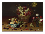 Grapes, Peaches and Plums in a Basket Giclee Print by Jan Soreau