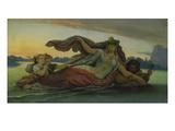 Die Donau Mit Ihren Nebenfluessen, um 1865() Giclée-Druck von Moritz Von Schwind