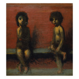 Two Children Seated Giclee Print by Hans Marées