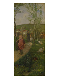 Spring Landscape with Children Taking a Stroll Giclee Print by Johann Sperl