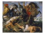 Hippopotamus and Crocodile Hunt, about 1615 Giclee Print by Peter Paul Rubens