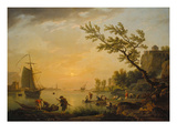 Evening Atmosphere at a Seaport, 1770 Giclée-Druck von Claude Joseph Vernet