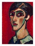 Elongated Head of a Woman in Brown-Red, 1913 Giclee-trykk av Alexej Von Jawlensky