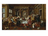 The Banquett, 1628. (The Architectural Elements by Dirck Van Delen) Lámina giclée por Dirck Hals