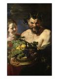 Satyr Und Maedchen Mit Fruechtekorb. Lwd., 112,5 X 71 Cm Giclee Print by Peter Paul Rubens