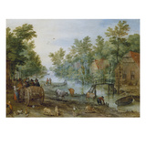 Busy Road Prints by Jan Brueghel the Younger