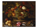 A Still Life of Grapes, Apples, a Peach and Plums in a Basket with Lily of Valley Prints by Balthasar van der Ast