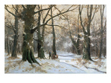 Returning Home Through the Winter Forest Giclee Print by Adolf Kaufmann