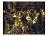 The Bean Feast, about 1640/45 Giclée-Druck von Jacob Jordaens