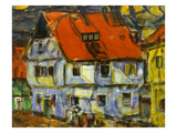 Blue House with Red Roof Giclee Print by Christian Rohlfs