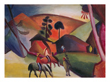 Native Americans on Horses, 1911 Giclee Print by August Macke