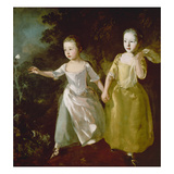 The Painter's Daughters Chasing a Butterfly. Probably About 1756 Giclee-trykk av Gainsborough, Thomas