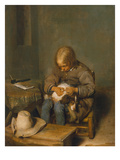 Boy Delousing His Dog Giclee Print by Gerard ter Borch
