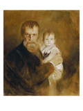Self-Portrait with Daughter, 1900 Prints by Franz Seraph von Lenbach