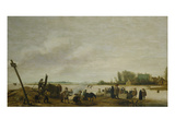 Winter Landschaft with a River, 1627 Giclee Print by Salomon van Ruysdael