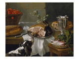 Still Life with Dog Lmina gicle por Alexandre-Francois Desportes
