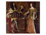 The Elector Ferdinand Maria and His Wife Henriette Adelaide. Mid-17th Century Giclee Print by Sebastiano Bombelli