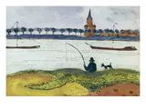 River Landscape with Angler, 1911 Giclée-tryk af Auguste Macke