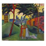 Landscape with Three Girls, 1911 Giclée-tryk af Auguste Macke