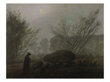 Walking at Dusk (Man Viewing a Prehistoric Grave) Giclee Print by Caspar David Friedrich