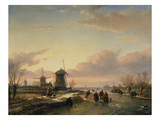 Wintery River Landscape with Skaters and Windmills Giclee Print by Jan Josef Spohler