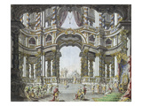 Draft for the Stage Design of Didone Abbandonata by Pietro Metastasio. Dresden 1742 Giclee Print by Giuseppe Bibiena