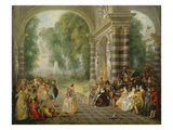 The Pleasures of the Ball, 1715/16 Giclee Print by Jean Antoine Watteau