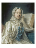 Mademoiselle Ferrand Meditiert Ueber Newton Prints by Maurice Quentin de La Tour