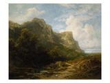 Bavarian Mountain Landscape, about 1870 Gicléetryck av Carl Spitzweg
