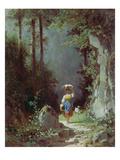 Maedchen Mit Ziege (Heimkehr Von Der Alm) Um 1858/1860 Gicléetryck av Carl Spitzweg