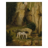 Hermit Watering His Horses, about 1845 Giclee Print by Moritz Von Schwind