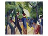 Promenade, 1913 Giclée-tryk af Auguste Macke