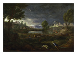 Landscape During a Thunderstorm with Pyramus and Thisbe, 1651 Giclee Print by Nicolas Poussin