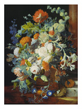 Flower Bouquet Next to a Column Giclee Print by Jan van Huysum