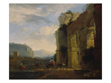 Italian Landscape with Ruins of an Aqueduct, 1675 Giclee Print by Nicolaes Berchem