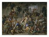 Der Kampf an Der Stiege. Fresko Im Saal Der Rache (Nibelungensaele) in Der Residenz Muenchen, 1848 Giclee Print by Julius Schnorr von Carolsfeld