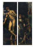 Triptych the Suit, Right Panel: Narcissus, Left Panel: Lovers/Engagement, 1884/85-1887 Giclee Print by Hans Marées